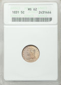 Bust Half Dimes: , 1831 H10C MS62 ANACS. NGC Census: (105/361). PCGS Population(77/280). Mintage: 1,200,000. Numismedia Wsl. Price for proble...
