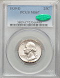 Washington Quarters: , 1939-D 25C MS67 PCGS. CAC. PCGS Population (42/0). NGC Census:(64/0). Mintage: 7,092,000. Numismedia Wsl. Price for proble...
