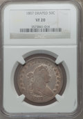 Early Half Dollars: , 1807 50C Draped Bust VF20 NGC. NGC Census: (49/691). PCGSPopulation (115/830). Mintage: 301,076. Numismedia Wsl. Pricefor...