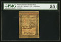 Colonial Notes:Pennsylvania, Pennsylvania October 1, 1773 20s PMG About Uncirculated 55 EPQ.....