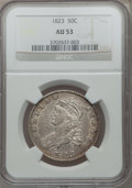 Bust Half Dollars: , 1823 50C AU53 NGC. NGC Census: (44/437). PCGS Population (62/392).Mintage: 1,694,200. Numismedia Wsl. Price for problem fr...