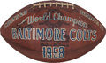 Football Collectibles:Balls, 1958 NFL Championship Game Used Football from Estate of Baltimore Colts Equipment Manager....