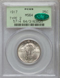 Standing Liberty Quarters: , 1917 25C Type Two MS64 PCGS. CAC. PCGS Population (175/107). NGCCensus: (119/91). Mintage: 13,880,000. Numismedia Wsl. Pri...