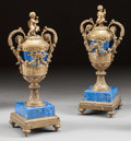 Decorative Arts, French:Other , A PAIR OF LOUIS XVI-STYLE GILT BRONZE, ENAMEL AND LAPIS LAZULIFIGURAL URNS . 19th century. 18 inches high (45.7 cm). ... (Total:2 Items)