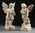 Decorative Arts, Continental:Other , TWO ITALIAN CARVED MARBLE CHERUBS. 19th century. 24 x 12 x 9 inches(61.0 x 30.5 x 22.9 cm). ... (Total: 2 Items)