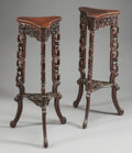Asian:Chinese, A PAIR OF CHINESE CARVED ROSEWOOD TRIANGULAR PLANT STANDS. 19thcentury. 34-3/4 inches high x 12 inches wide (88.3 x 30.5 cm...(Total: 2 Items)