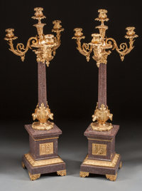 A PAIR OF LOUIS XVI-STYLE MARBLE AND GILT BRONZE FOUR-LIGHT CANDELABRA 20th century 34-1/2 inches high x 12-1/2
