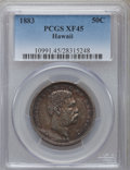 Coins of Hawaii: , 1883 50C Hawaii Half Dollar XF45 PCGS. PCGS Population (85/432).NGC Census: (47/323). Mintage: 700,000. ...