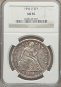 Seated Dollars: , 1846-O $1 AU50 NGC. NGC Census: (15/80). PCGS Population (25/76).Mintage: 59,000. Numismedia Wsl. Price for problem free N...