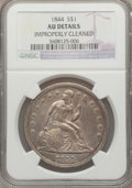 Seated Dollars: , 1844 $1 -- Improperly Cleaned -- NGC Details. AU. NGC Census:(11/100). PCGS Population (31/107). Mintage: 20,000. Numismed...