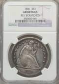 Seated Dollars, 1841 $1 -- Reverse Scratched -- NGC Details. AU. NGC Census:(14/141). PCGS Population (37/139). Mintage: 173,000. Numismed...