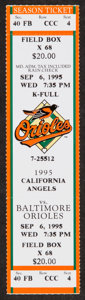 Baseball Collectibles:Tickets, 1995 Cal Ripken Jr. Record Breaking 2131 Consecutive Game StreakFull Ticket....