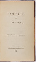 Books:Fiction, William A. Stephens. EUGENE FIELD'S PERSONAL COPY. Hamilton; andOther Poems. Rogers and Thompson Printers, 1840...