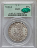 Bust Half Dollars: , 1827/6 50C AU50 PCGS. CAC. PCGS Population (25/100). NGC Census:(6/62). Numismedia Wsl. Price for problem free NGC/PCGS c...