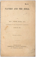Books:Americana & American History, Rev. Enoch Pond. Slavery and the Bible. American Tract Society, [n.d.] Revised edition. Self-wrappers. Light soi...