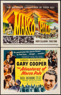 "Movie Posters:Adventure, The Adventures of Marco Polo & Other Lot (Samuel Goldwyn,R-1954). Half Sheets (2) (22"" X 28""). Adventure.. ... (Total: 2Items)"
