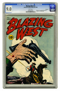 Blazing West #1 Vancouver pedigree (ACG, 1948) CGC VF/NM 9.0 White pages. First appearance of Injun Jones, Tenderfoot, a...