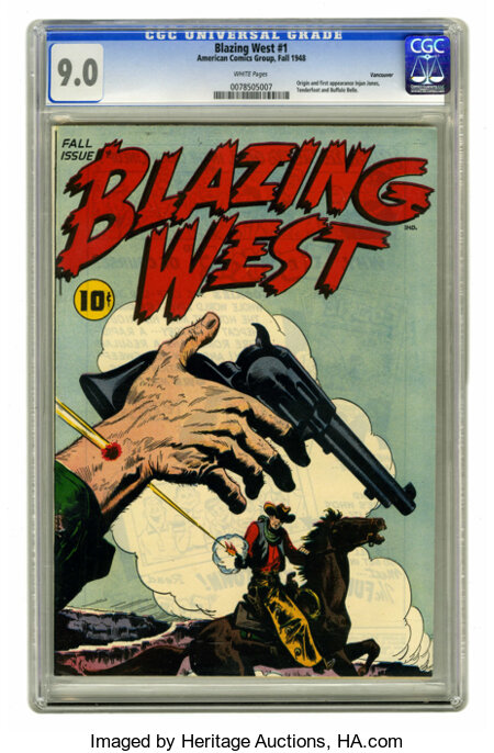 Blazing West #1 Vancouver pedigree (ACG, 1948) CGC VF/NM 9.0 White pages. First appearance of Injun Jones, Tenderfoot, and B...