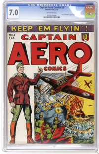 Captain Aero Comics V1#8 (#2) (Holyoke Publications, 1944) CGC FN/VF 7.0 Off-white pages. Pals of Freedom appearance. Ov...
