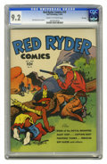 Golden Age (1938-1955):Western, Red Ryder Comics #19 File Copy (Dell, 1944) CGC NM- 9.2 Cream tooff-white pages. Framed by a stark white background, Red Ry...