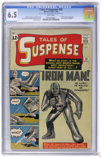 Tales of Suspense #39 (Marvel, 1963) CGC FN+ 6.5 White pages. Tony Stark makes his first appearance as Iron Man in this...