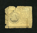 Colonial Notes:Continental Congress Issues, Continental Currency September 26, 1778 $50 Good, damage. This noteis without a signature and may be a British counterfeit....