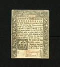 Colonial Notes:Connecticut, Connecticut June 1, 1780 20s Extremely Fine, CC. The cut cancel anda small edge split have been repaired on this bright not...