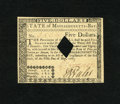 Colonial Notes:Massachusetts, Massachusetts May 5, 1780 $5 Choice About New, HOC. This is abeautiful note with a corner fold....