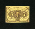 Fractional Currency:First Issue, Fr. 1230 5c First Issue Choice About New. A light fold is found just inside the left-hand edge....