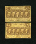 Fractional Currency:First Issue, Fr. 1281 25c First Issue. Two Examples. Fine; VF. The higher graded note has sound edges, while the lower graded note has a ... (Total: 2 notes)
