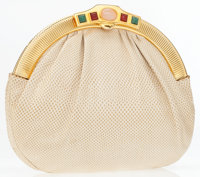 Judith Leiber Cream Lizard Clutch with Jeweled Clasp