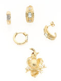 Estate Jewelry:Lots, Diamond, Multi-Stone, Gold Jewelry Lot. ... (Total: 3 Items)