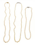 Estate Jewelry:Necklaces, Cultured Pearl, Gold Necklace Lot. ... (Total: 3 Items)