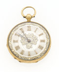 Timepieces:Pocket (pre 1900) , Swiss 18k Gold & Enamel Key Wind Pocket Watch. ...