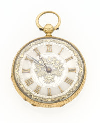 Swiss 18k Gold & Enamel Key Wind Pocket Watch