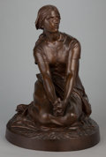 Sculpture, A BRONZE STATUE OF A KNEELING FEMALE NUDE. 20th century. Marks: Reduction Mecanique. 22-1/2 inches high (57.2 cm). ...