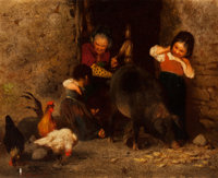 OTTO BRANDT (German, 1828-1892) Family Pets Oil on canvas 7-1/8 x 8-1/2 inches (18.1 x 21.6 cm)