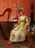 Fine Art - Painting, European:Antique  (Pre 1900), EMILE BARE (French, 19th Century). Interior with Woman and Harp. Oil on wood panel. 12-3/4 x 9-1/2 inches (32.4 x 24.1 c...