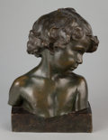 Sculpture, JEAN-MARIE CAMUS (French, 1877-1955). Buste de fillette (Bust of a Girl), 1903. Bronze with greenish brown patina. 15-1/...
