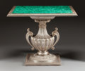 Furniture : Continental, AN ITALIAN SILVER GILT CARVED WOOD TABLE WITH MALACHITE TOP. 20th century. 29 x 34-1/2 x 32 inches (73.7 x 87.6 x 81.3 cm). ...