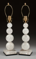 Asian:Chinese, A PAIR OF GRADUATED QUARTZ LAMPS. 20th century. 18-1/2 inches high(62.2 cm) (to socket). ... (Total: 2 Items)