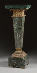 Decorative Arts, French:Other , A LOUIS XVI-STYLE GREEN MARBLE PEDESTAL WITH GILT BRONZE MOUNTS.20th century. 44-1/2 x 14-1/4 x 14-1/4 inches (113.0 x 36.2...(Total: 2 Items)