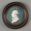 Fine Art - Painting, European:Antique  (Pre 1900), Attributed to PIAT JOSEPH SAUVAGE (Flemish, 1744-1818).Bust-Length Portrait Miniature of a Gentleman in Profile.Waterc...