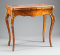 Furniture : French, A NAPOLEON III MARQUETRY GILT BRONZE MOUNTED GAMES TABLE . 19thcentury. 32-1/4 x 35 x 18-1/2 inches (81.9 x 88.9 x 47.0 cm)...
