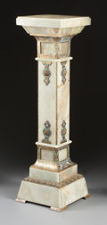 Decorative Arts, French:Other , A FRENCH ONYX, CHAMPLEVÉ AND GILT BRONZE MOUNTED PEDESTAL . 20thcentury. 44 x 12-1/2 x 12-1/2 inches (111.8 x 31.8 x 31.8 c...