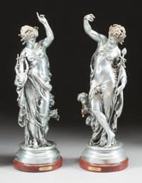 A PAIR OF SILVERED BRONZE FIGURES ON WOOD BASES, AFTER MATHURIN MOREAU (French, 1822-1912), 20th century Marks:
