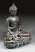 Asian, AN ASIAN PATINATED BRONZE FIGURE OF BUDDHA. 19th century. 23 x16-1/2 x 12 inches (58.4 x 41.9 x 30.5 cm). ...