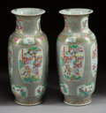 Asian:Chinese, A PAIR OF CHINESE ROSE CANTON PORCELAIN VASES. 20th century. 24inches high x 8-1/2 inches wide (61.0 x 21.6 cm). ... (Total: 2Items)