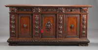 AN ITALIAN RENAISSANCE-STYLE CARVED WALNUT CREDENZA 19th century 43 x 90 x 25-3/4 inches (109.2 x 228.6 x 65.4