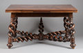 Furniture : Continental, A PORTUGUESE WALNUT DRAW LEAF DINING TABLE. 19th century. 31-1/2 x56-1/2 x 43-1/4 inches (80.0 x 143.5 x 109.9 cm). ...